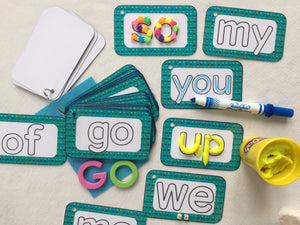 Sight Word Clip Cards, Set 1, Dry erase, kindergarten