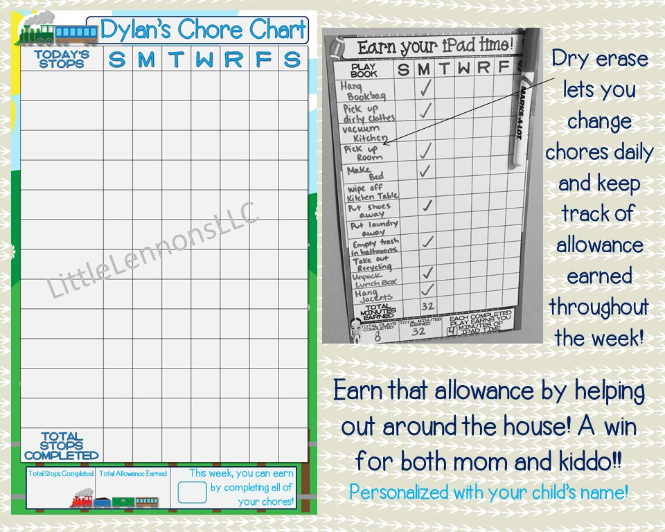 Train chore chart, allowance, goal chart, dry erase