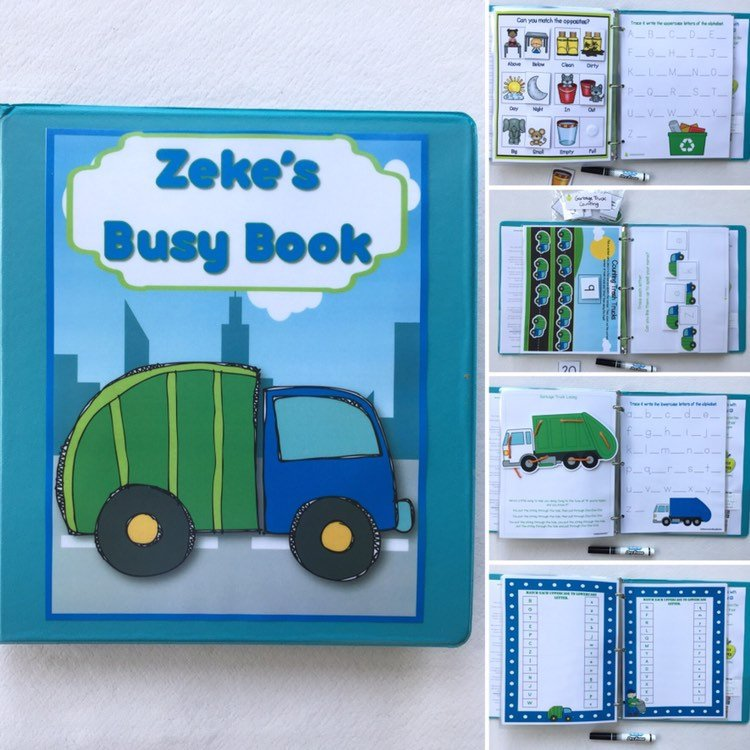 Garbage Truck Busy Book, Quiet Book, Activity Book, Learning Binder