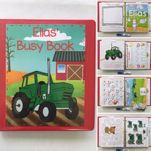 Tractor Farm Animal Custom Dry Erase  Activity Book, Personalized, Busy Book, Quiet Book