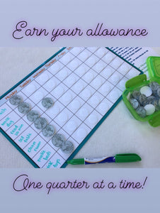 Weekly Allowance Chart, quarters, dry erase, sticker chart