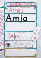Name Mat, learn to write name, spell name, trace name