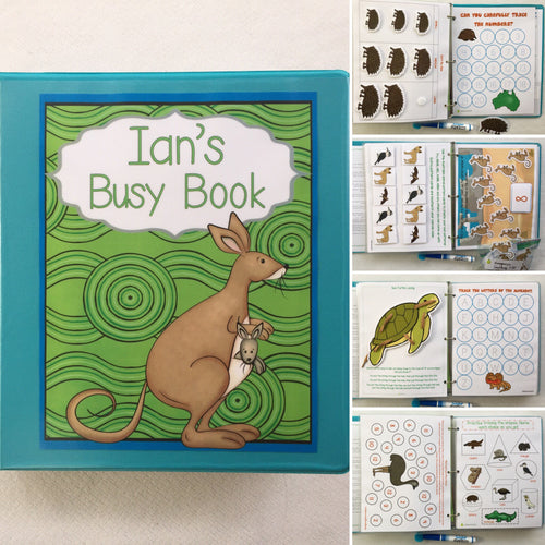 Australian Animal-Themed Customized Dry Erase Busy Book for preschool aged children