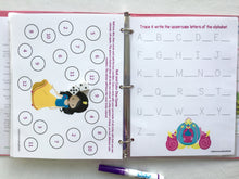 Princess Themed Custom Dry Erase Activity Book, Personalized, Busy Book, learning