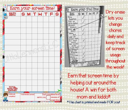 Gamer earn your screen time dry erase chore chart for use with a choice of electronic device