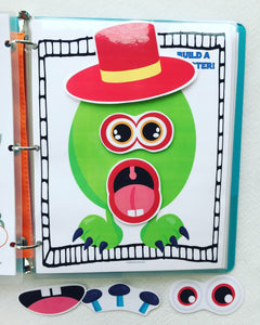 Make a Monster building busy book page, quiet book, busy bag, educational toy for children