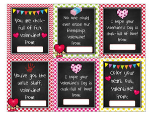 Printable Sidewalk Chalk kids class valentine, gender neutral, digital download