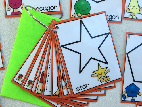 Shapes Clip Cards, Dry erase, 3D, 2D