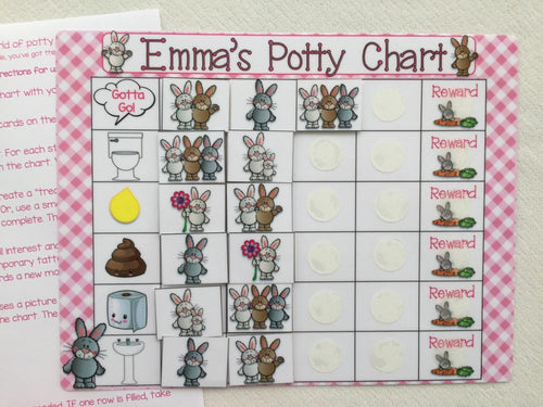 Bunny rabbit Potty Chart, Potty training chart, reward chart, personalized