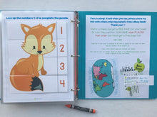 Fox Themed Custom Dry Erase Activity Book, Personalized, Busy Book, Quiet Book