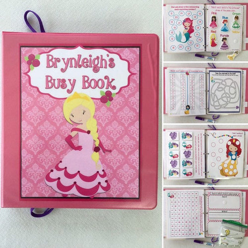 Princess, Mermaid Themed Custom Dry Erase Activity Book, Personalized, Busy Book