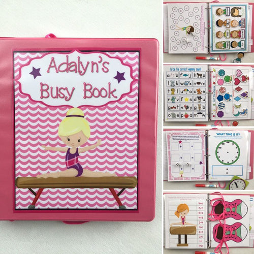 Gymnastics Themed Custom Dry Erase Activity Book, Personalized, Busy Book, Quiet Book
