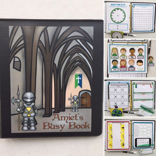 Knights Themed Custom Dry Erase Activity Book, Personalized, Busy Book, Quiet Book