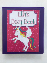 Unicorn Themed Custom Dry Erase Activity Book, Personalized, Busy Book, Quiet Book
