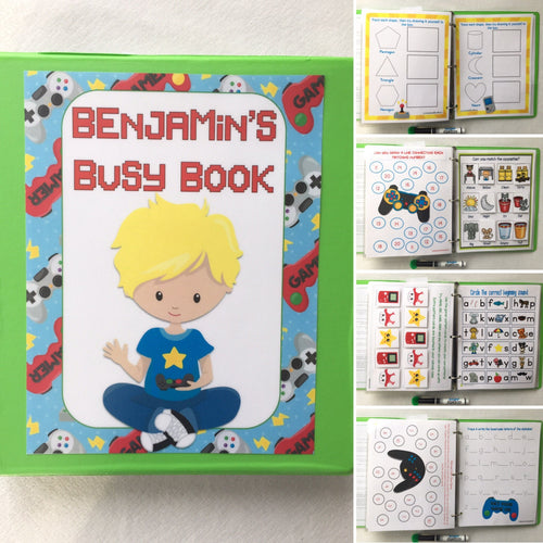Gamer Themed Custom Dry Erase Activity Book, Personalized, Busy Book, binder