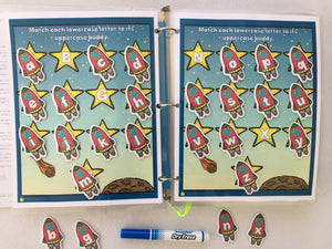 Planes, space ship Themed Custom Dry Erase Activity Book, Personalized, Busy Book