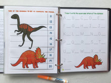 Dinosaur, Superhero Themed Custom Dry Erase Activity Book, Personalized, Busy Book