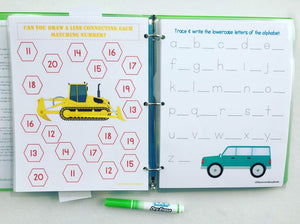 Truck Themed Custom Dry Erase Activity Book, Personalized, Busy Book, Quiet Book