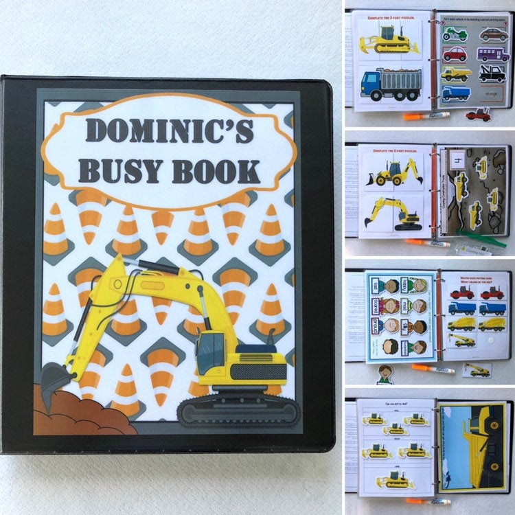 Construction truck Dry Erase Busy Book, Quiet Book, Activity Book, custom gift