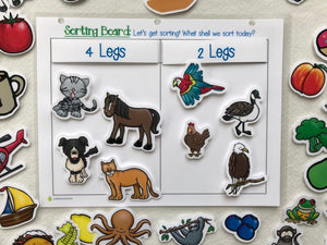 Sorting mat, sort by attribute, hands on learning, homeschool