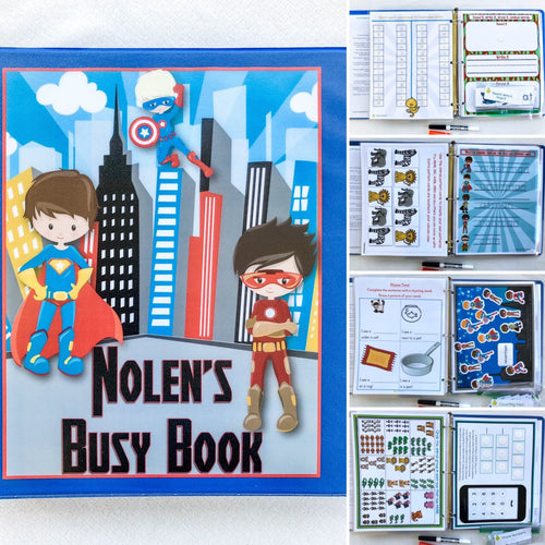 Superhero Personalized Busy Book, Quiet Book, Kindergarten activity book, learning binder