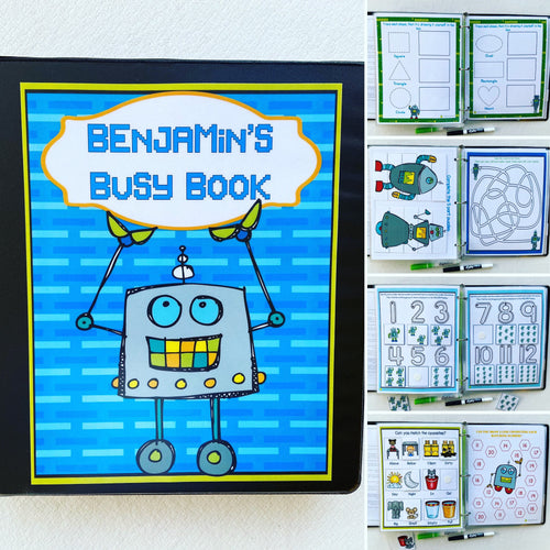 Robots custom PreK Busy Book, Dry Erase Activity book, learning toy, interactive