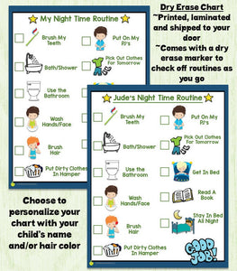 SHIPPED Night Time Routine Checklist, bedtime routine, personalized, picture chart