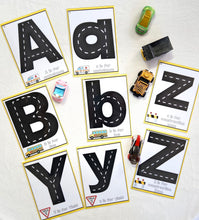 Alphabet road mats, learn letters, trucks, uppercase letters