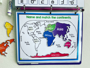 Continent Matching busy book page, shipped, homeschool, educational materials