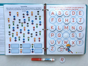 Superhero Personalized Busy Book, Quiet Book, Dry Erase, hands on learning