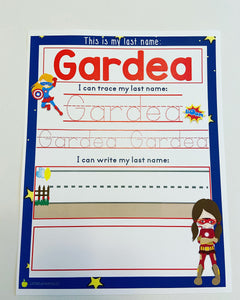 SHIPPED Name writing practice page, dry erase, homeschool, learning at home