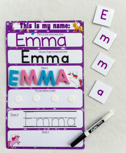 Unicorn Name Mat, learn write name, spell name, trace name