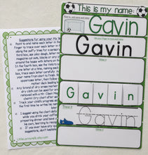 Soccer Name Mat, learn to write name, spell name, trace name