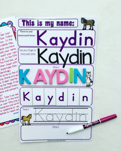 Horse Name Mat, learn write name, spell name, trace name