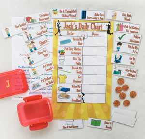 Basketball Morning, Bedtime, Chore Chart, routine chart
