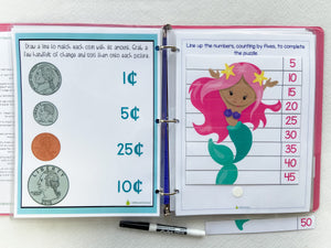Mermaid Custom Dry Erase Activity Book, Personalized, Busy Book, Quiet Book