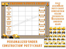 Potty Chart, personalized, FULLY ASSEMBLED, Construction, truck, potty training, star chart, boys, sticker, Reward Chart, laminated, premade