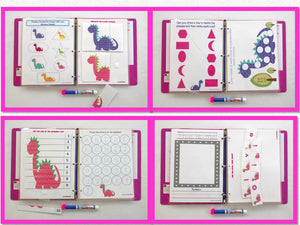 Girly Dinosaur Toddler dry erase/ activity book, Personalized Busy Book, Quiet Book, travel game, busy bags, ages 2 to 3.5, big sister