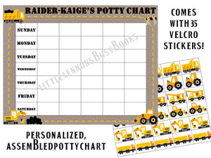 Potty Chart Construction Themed with Days of the Week and 35  stickers, hook and loop