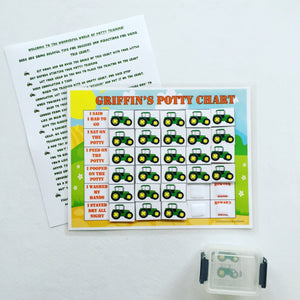 Tractor Potty Chart, Potty training chart, Positive rewards chart, personalized potty chart, fully assembled with directions for use