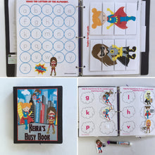 Girl Superhero Dry Erase/Busy Book/ Quiet Book/Activity Book/Binder/Educational toy/travel toys for kids/Custom gift/unique gift for girls