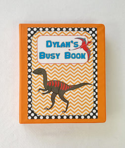 Dinosaur Personalized Busy Book, Quiet Book, 5 or 10 pages, preschool dry erase  activity book, travel game, preschool, educational