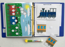 Train Dry Erase/ Activity Book, Busy Book, Personalized, Quiet Book, customized, busy bag, travel game, educational toy, all ages