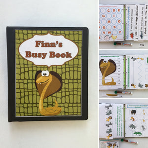 Animal Dry Erase/Busy Book/ Quiet Book/Activity Book/Learning Binder/ Custom made by age, preschool learning, snakes, hands on, workbook