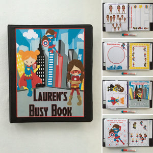 Toddler Girl Superhero Dry Erase/  Busy Book/ Quiet Book/Activity Book, Educational toy, Custom made by a teacher, age 2-3, preschool