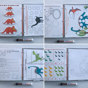 Dinosaur PreK Personalized Busy Book, Quiet Book, 5 or 10 pages, dry erase  activity book, travel game, educational toy, age 3.5-4.5