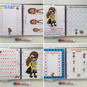 Combined Themes dry erase activity book, personalized busy book, quiet book, busy bag, educational toy, travel toy, preschool, custom gift