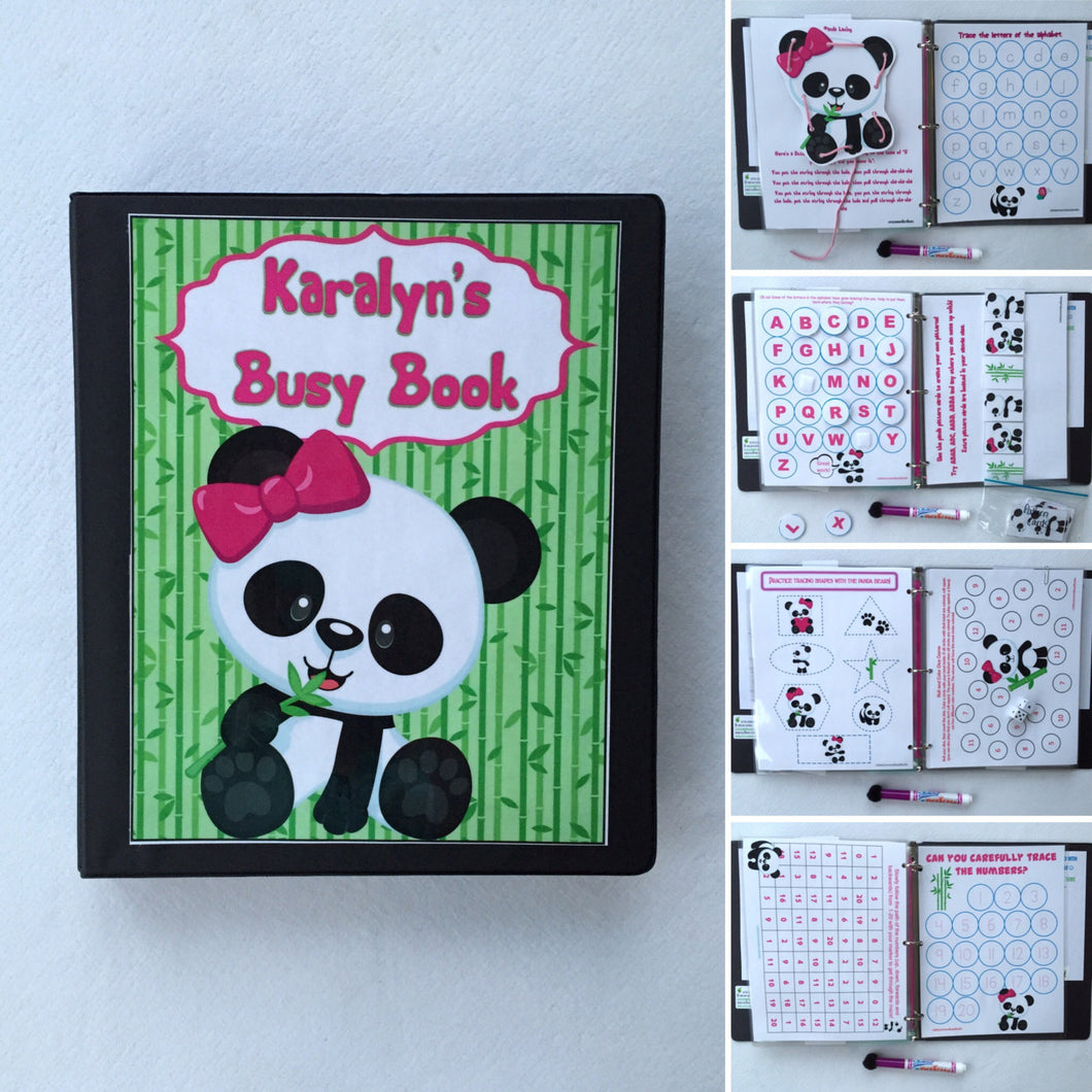 PreK Panda Dry Erase/  Busy Book/ Quiet Book/Activity Book, Educational toy, Custom made by a teacher according to age, hook and loop
