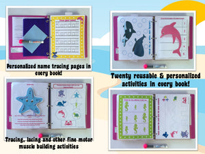 Ocean Animals Personalized Busy Book, Quiet Book, Dry Erase/ activities, Preschool, Educational Toy, age 2-3, reusable activity book