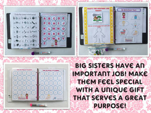 Big Sister Busy Book, quiet book, dry erase activity book, toddler, preschool, big sister gift, personalized, custom gift, sibling, girl